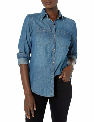 Chaps Women's Indigo Dyed Utility Pocket Denim Shirt