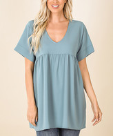 Lydiane Women's Tunics BLUE - Blue Gray V-Neck Short-Sleeve Babydoll Tunic - Women & Plus