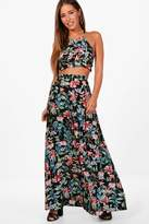 boohoo Petite Imogen Halter Neck Top Maxi Skirt Co-ord black