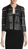 Alberto Makali Tiered Faux-Leather Jacket