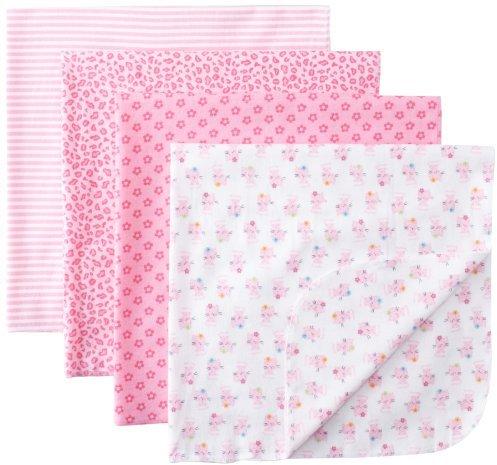 Gerber Baby-girls 4 Pack Flannel Receiving Blanket-Cat
