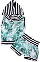 ITFABS 2pcs Baby Boy Girl Leaf Printed Striped Vest T-shirt Tops + Short Pants Outfit