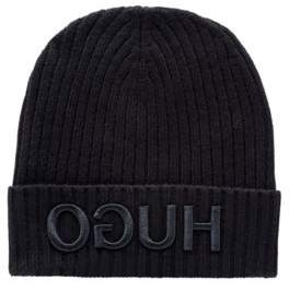 Wool beanie with turnback hem and reversed logo