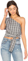 MinkPink One Shoulder Tie Check Top in Gray. - size L (also in M,S,XS)