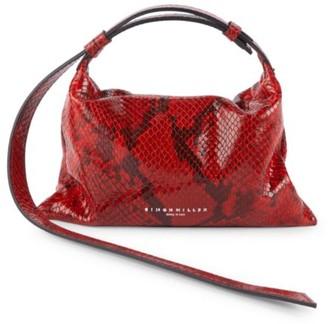 Simon Miller Mini Puffin Snakeskin-Embossed Leather Shoulder Bag