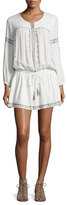 Joie Laka Metallic-Trim Blouson Mini Dress, White