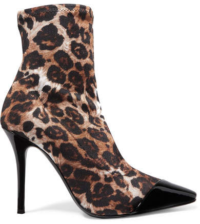 Giuseppe Zanotti Notte Patent Leather-trimmed Leopard-print Jersey Ankle Boots - Leopard print