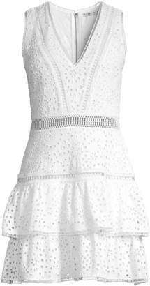 Alice + Olivia Tonie Embroidered Eyelet Dress