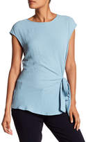 Vince Camuto Mixed Media Tie-Hem Tee