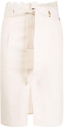 Twin-Set Embroidered Scalloped-Waist Skirt