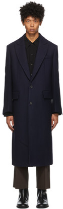 System Navy Wool Long Coat