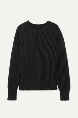 RtA Gunnar Distressed Cable-knit Cotton-blend Sweater - Black