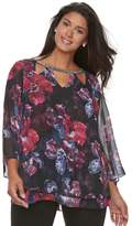JLO by Jennifer Lopez Plus Size Embellished Triple Cut-Out 3/4-Sleeve Floral Top
