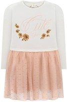 GUESS Ivory Jersey & Pink Tulle Flower Dress
