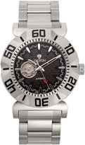 Croton Mens Silvertone And Black Numbered Bezel Bracelet Watches