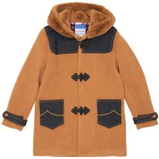 Jacob Cohen Hooded Wool Blend Coat W/ Denim Details
