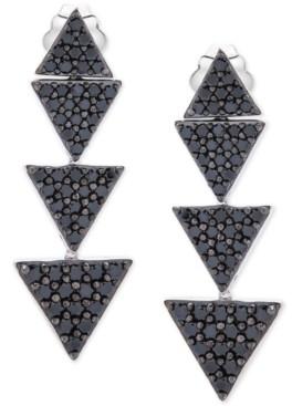 Macy's Black Diamond Triangle Drop Earrings (1-1/2 ct. t.w.) in 10k White Gold
