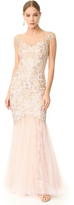 Marchesa Cap Sleeve Gown