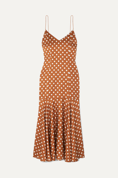 Caroline Constas Kai Polka-dot Silk-satin Dress