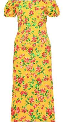 Caroline Constas Calla Off-the-shoulder Floral-print Cotton-blend Poplin Midi Dress