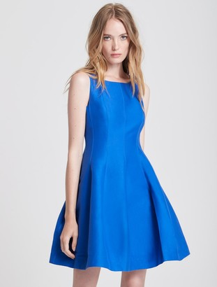 Halston Fit and Flare Silk Faille Dress