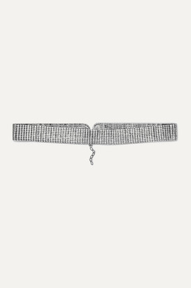 Black & Brown Kate Crystal-embellished Silver-tone Waist Belt