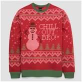 Fifth Sun Men's Long Sleeve Snowman Chill Out Bro Fleece Sweatshirt - Red