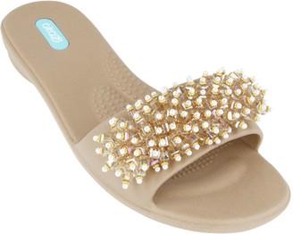 OKA b. Oka-B Beaded Embellishment Slide Sandals - Gaga