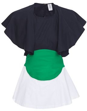 Rosie Assoulin Bullseye Ruffled Color-block Cotton-poplin Top