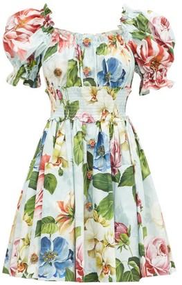 Dolce & Gabbana Floral-print Puff-sleeve Cotton-poplin Dress - Blue Print