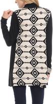 Celeste Black & Beige Geometric Contrast-Back Open Cardigan