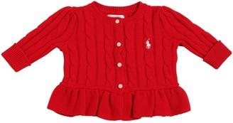 Ralph Lauren Cotton Cable Tricot Knit Cardigan