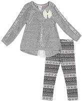 Little Lass Heather Gray Bow Sweater & Geometric Leggings - Girls