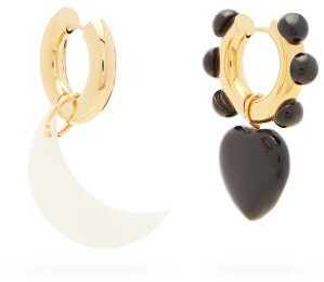 Timeless Pearly Mismatched Moon And Heart Gold-plated Earrings - White Black