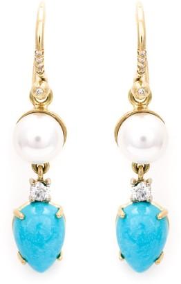 Irene Neuwirth turquoise and pearl drop earrings