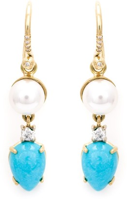 Irene Neuwirth Turquoise And Pearl Drop Earrings