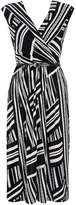 Monochrome Geometric Print Wrap Dress
