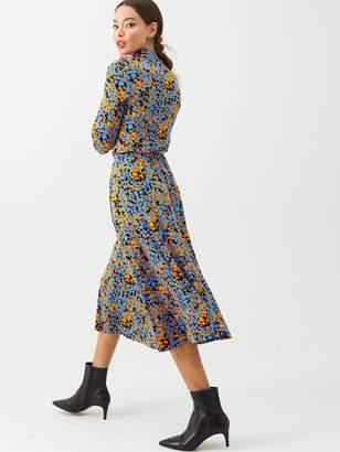 Very Roll Neck Midi Dress - Orange Floral