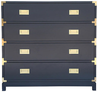 Ave Home Carlyle 4-Drawer Campaign Dresser - Navy