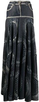 Gianfranco Ferré Pre Owned Abstract Print Denim Skirt