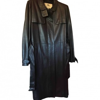 Burberry Black Leather Trench coats