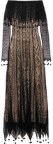 Alexander McQueen Off-the-shoulder Pompom-trimmed Silk-lace Maxi Dress - Black