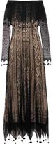 Alexander McQueen Off-the-shoulder Pompom-trimmed Silk-lace Maxi Dress - Black