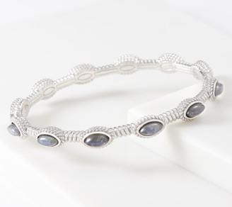 Sterling Silver Gemstone Pressed Diamond Cut Bangle 25.0g