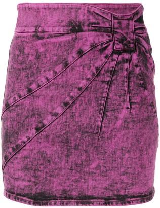 RED Valentino Marble-Denim Mini Skirt