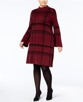 Style&Co. Style & Co Plus Size Jacquard Plaid Mock-Neck Sweater Dress, Created for Macy's