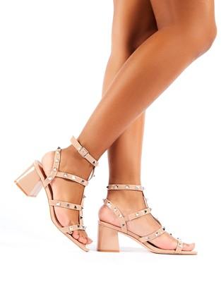 Public Desire Uk Always Studded Strappy Block Mid Heels Patent