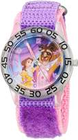 Disney Girl's 'Belle' Quartz Plastic and Nylon Automatic Watch, Color: (Model: W002929)