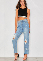 Missy Empire Kacey Light Blue Distressed Straight Leg Jeans