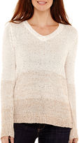 Liz Claiborne Long-Sleeve V-Neck Ombr Sweater